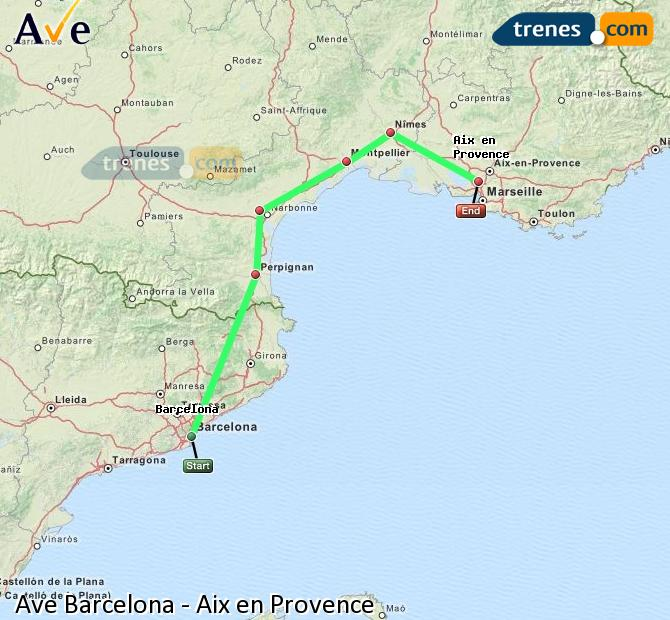 Karte vergrößern AVE Barcelona Aix en Provence