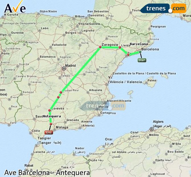 Enlarge map AVE Barcelona to Antequera
