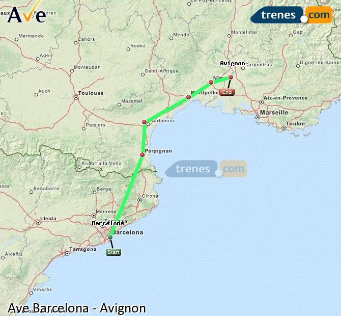 Enlarge map AVE Barcelona to Avignon