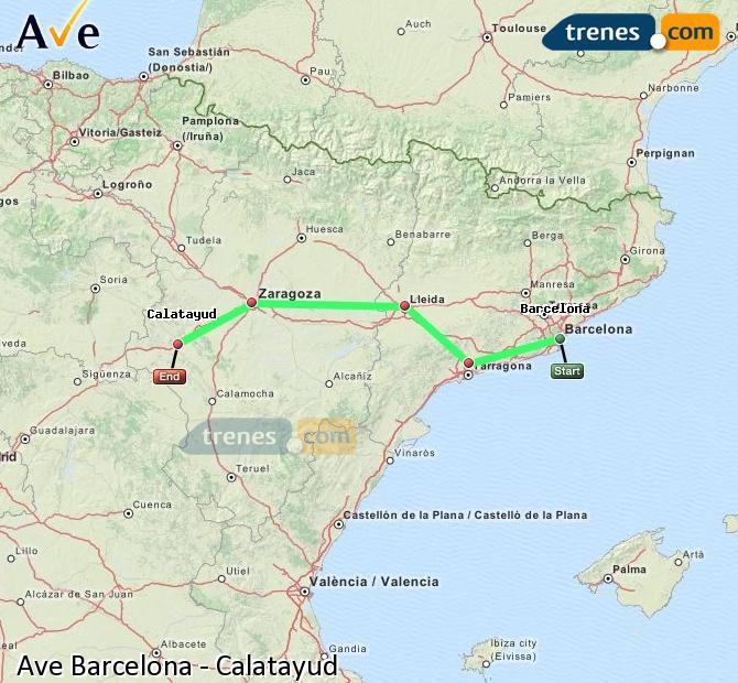 Ampliar mapa AVE Barcelona Calatayud