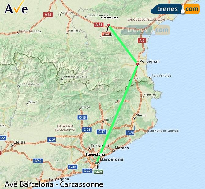 Enlarge map AVE Barcelona to Carcassonne
