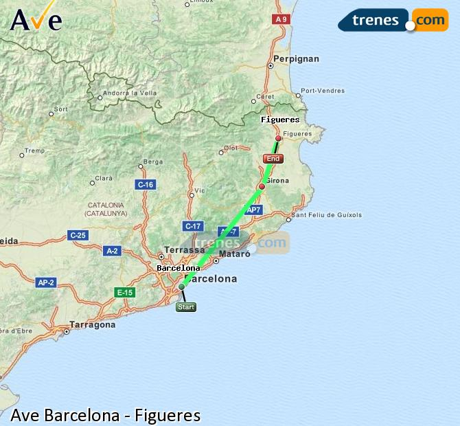 Enlarge map AVE Barcelona to Figueres