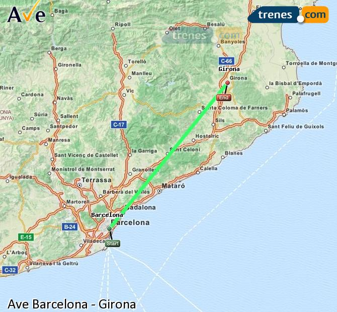 Enlarge map AVE Barcelona to Girona