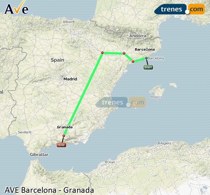 Ampliar mapa AVE Barcelona Granada