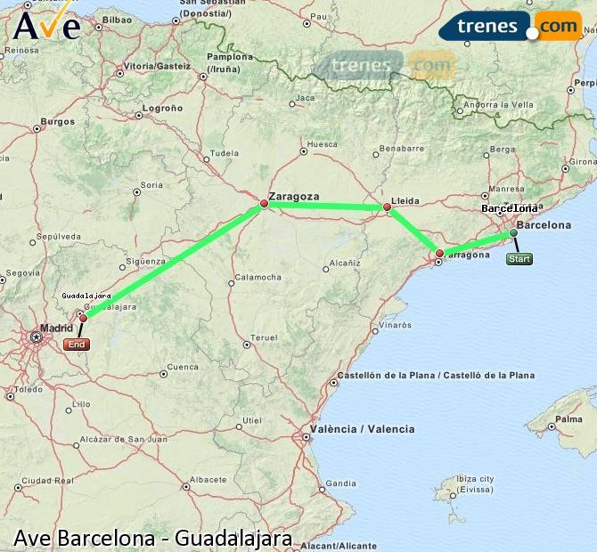 Ampliar mapa AVE Barcelona Guadalajara