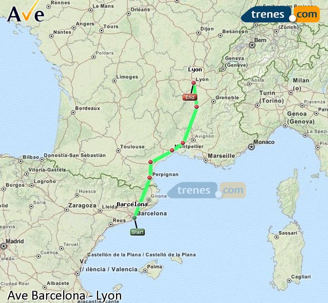 Enlarge map AVE Barcelona to Lyon