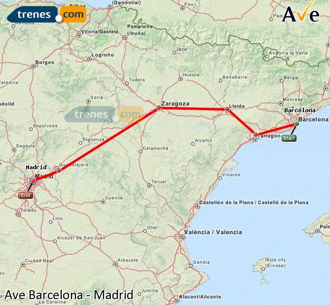Enlarge map AVE Barcelona to Madrid