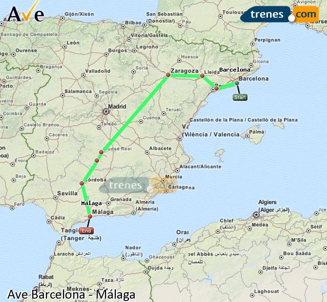 Ampliar mapa AVE Barcelona Málaga