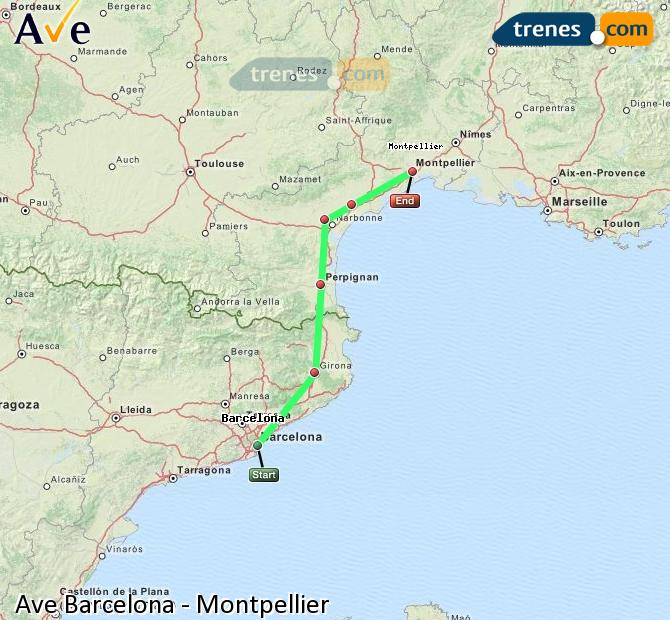 Enlarge map AVE Barcelona to Montpellier