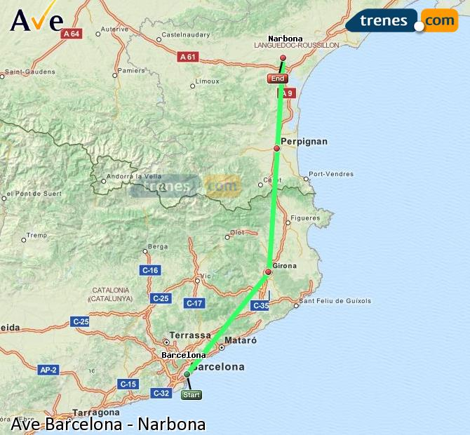 Enlarge map AVE Barcelona to Narbonne