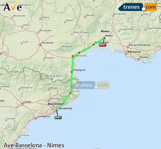 Enlarge map AVE Barcelona to Nimes
