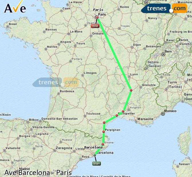 Enlarge map AVE Barcelona to Paris