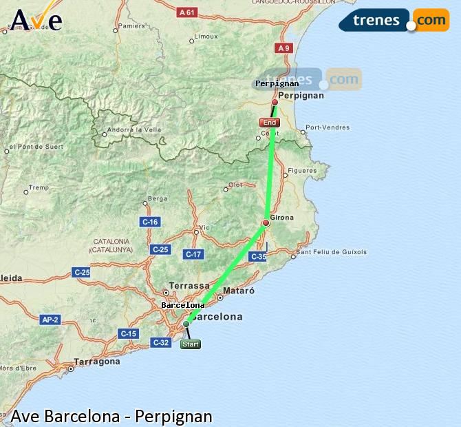 Enlarge map AVE Barcelona to Perpignan