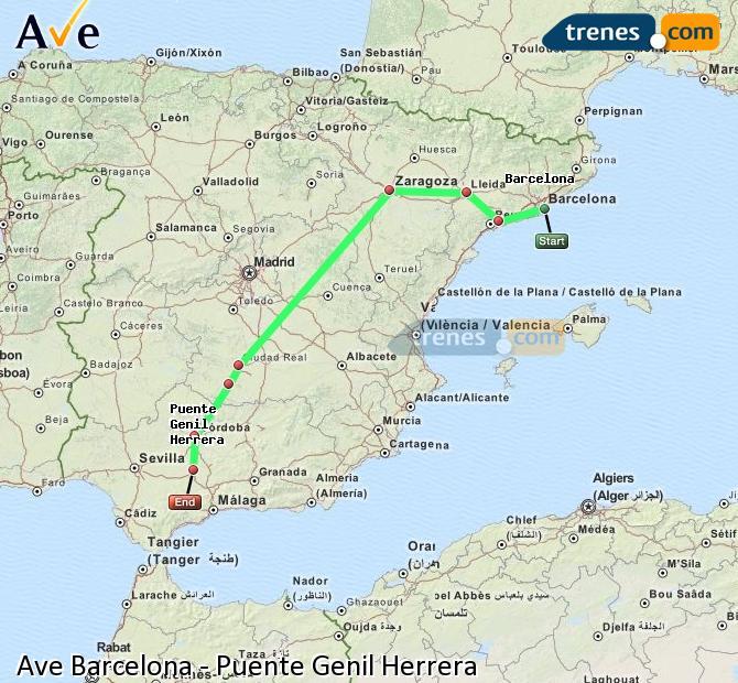 Agrandir la carte AVE Barcelone Puente Genil Herrera