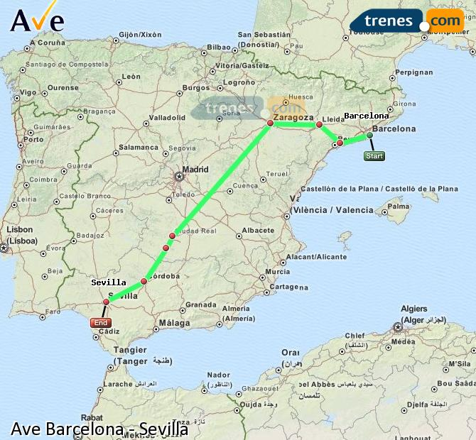 Ampliar mapa AVE Barcelona Sevilla
