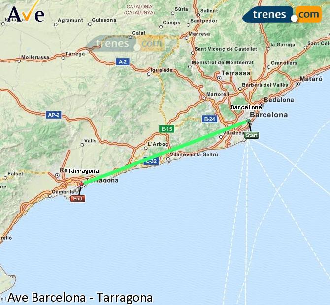 Ingrandisci la mappa AVE Barcellona Tarragona