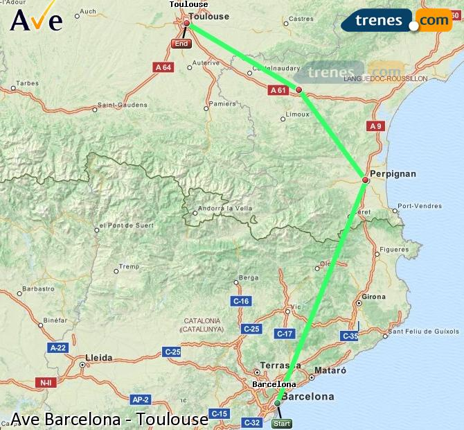 Enlarge map AVE Barcelona to Toulouse