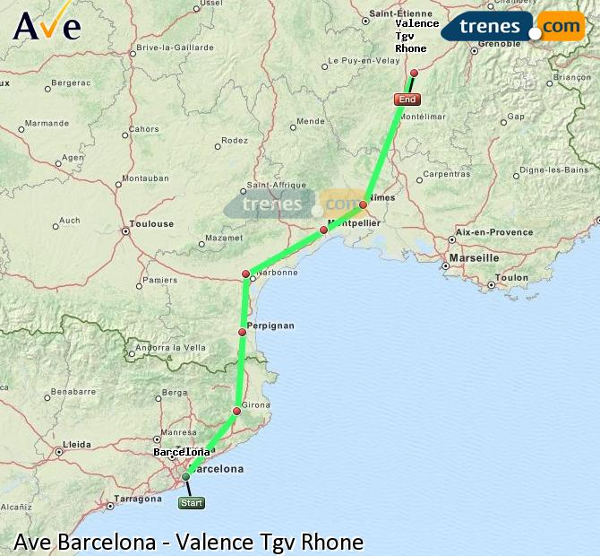Enlarge map AVE Barcelona to Valence Tgv Rhone