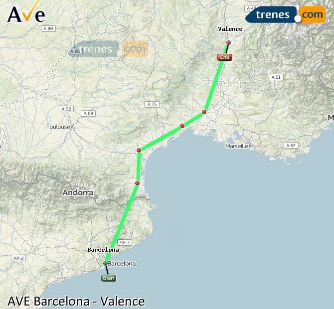 Karte vergrößern AVE Barcelona Valence