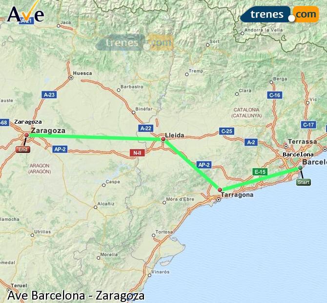 Agrandir la carte AVE Barcelone Zaragoza