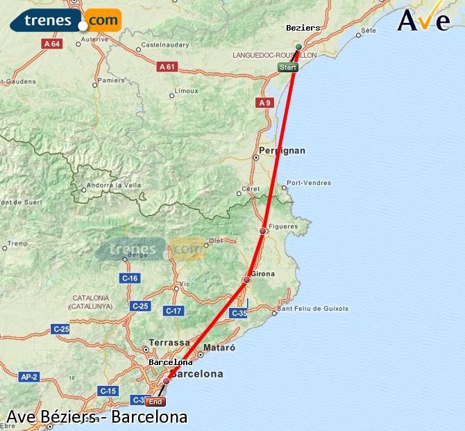Ingrandisci la mappa AVE Béziers Barcellona