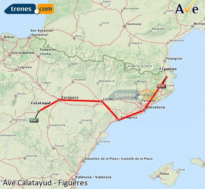 Enlarge map AVE Calatayud to Figueres