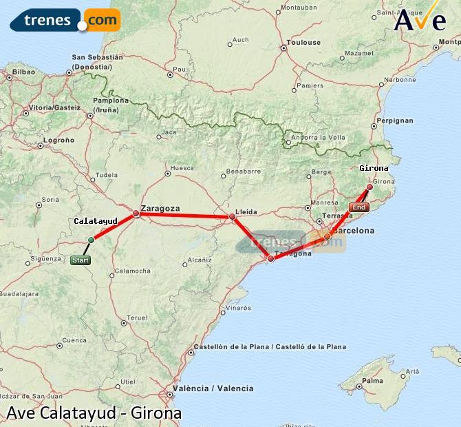 Enlarge map AVE Calatayud to Girona