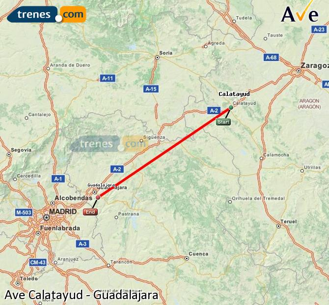 Enlarge map AVE Calatayud to Guadalajara