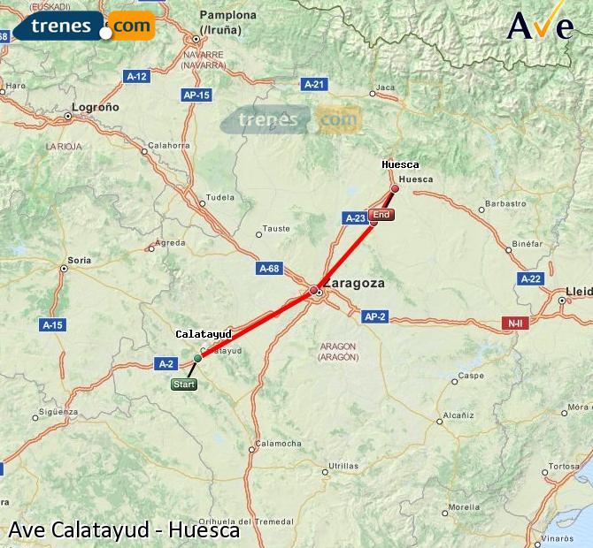Ampliar mapa AVE Calatayud Huesca