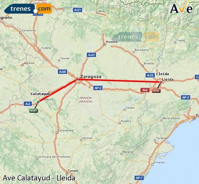 Ampliar mapa AVE Calatayud Lleida