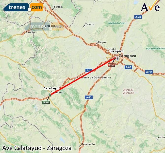Agrandir la carte AVE Calatayud Zaragoza