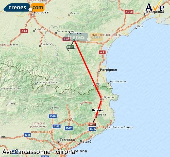 Agrandir la carte AVE Carcassonne Girona