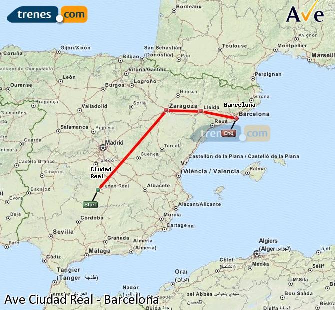 Ampliar mapa AVE Ciudad Real Barcelona