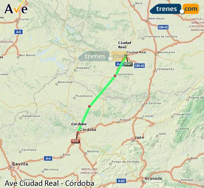 Agrandir la carte AVE Ciudad Real Córdoba