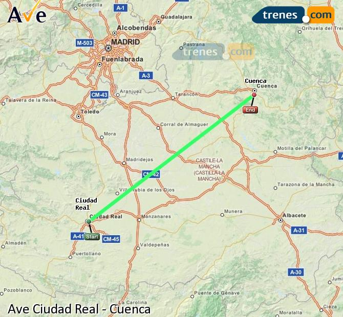Enlarge map AVE Ciudad Real to Cuenca