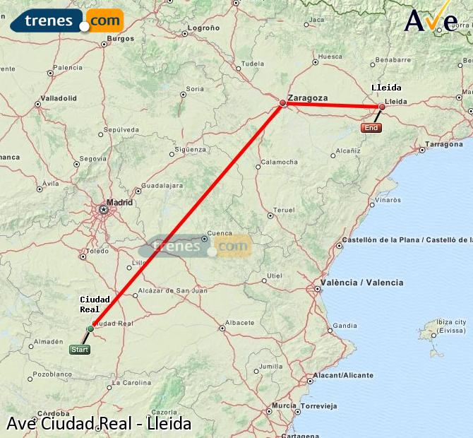 Enlarge map AVE Ciudad Real to Lleida