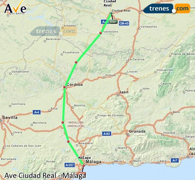 Enlarge map AVE Ciudad Real to Malaga