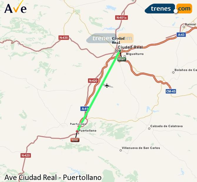Enlarge map AVE Ciudad Real to Puertollano