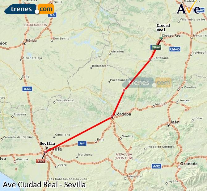 Enlarge map AVE Ciudad Real to Seville