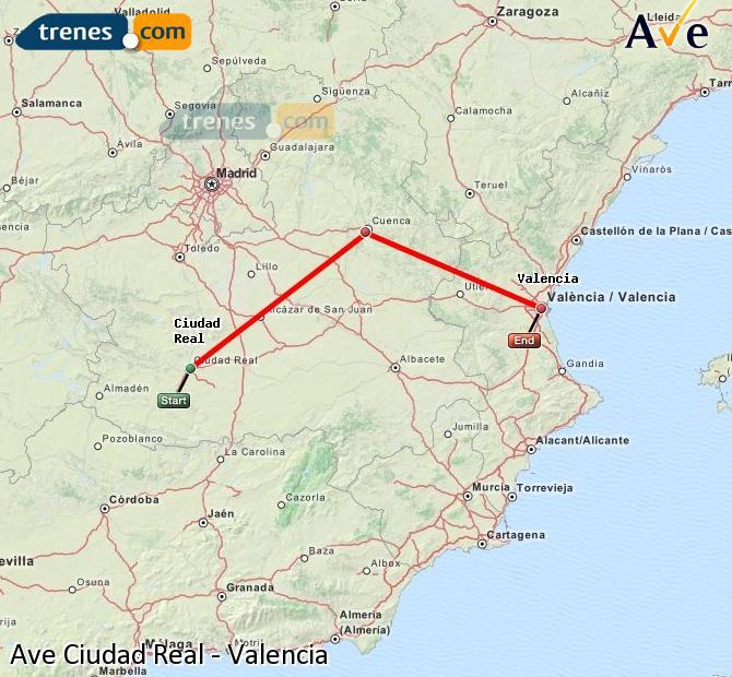 Enlarge map AVE Ciudad Real to Valencia