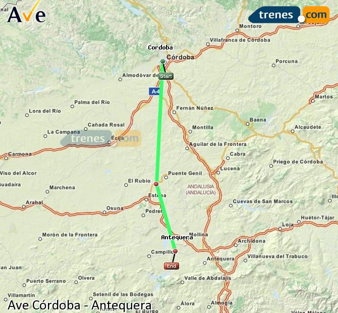 Enlarge map AVE Córdoba to Antequera