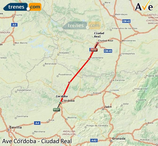 Enlarge map AVE Córdoba to Ciudad Real