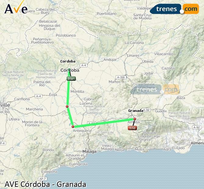 Ampliar mapa AVE Córdoba Granada