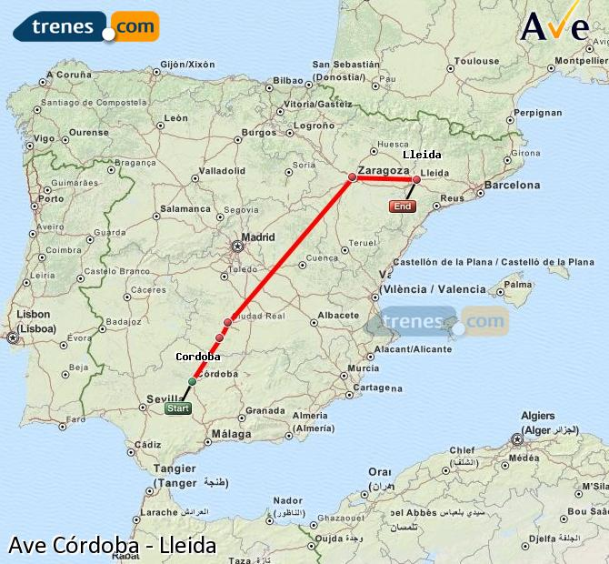 Enlarge map AVE Córdoba to Lleida