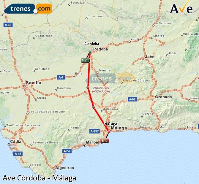 Agrandir la carte AVE Córdoba Málaga