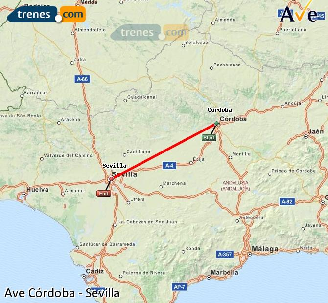 Enlarge map AVE Córdoba to Seville