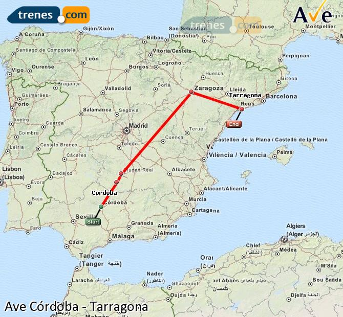 Enlarge map AVE Córdoba to Tarragona