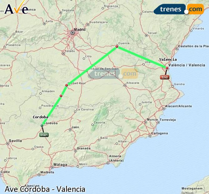 Enlarge map AVE Córdoba to Valencia