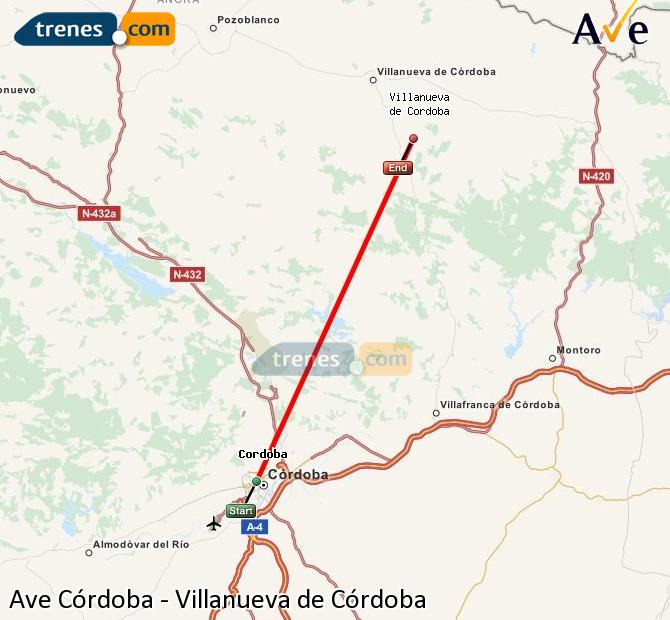 Enlarge map AVE Córdoba to Villanueva de Córdoba