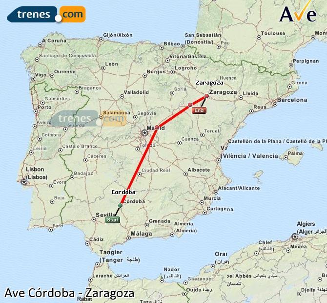 Enlarge map AVE Córdoba to Zaragoza